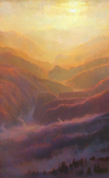 """American Legacy Fine Arts presents """"Mist and Mountains, Sunset over the San Gabriels"""" a painting by Peter Adams."""