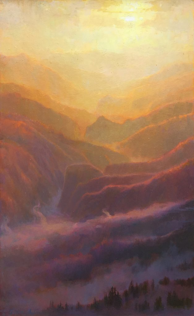 "American Legacy Fine Arts presents ""Mist and Mountains, Sunset over the San Gabriels"" a painting by Peter Adams."