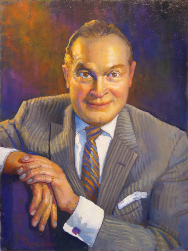 "American Legacy Fine Arts presents "" Portrait of Bob Hope"" a painting by Peter Adams."