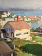 "American Legacy Fine Arts presents "" Incoming Fog at Stonington"" a painting by Ray Roberts."