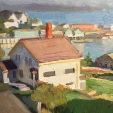 """American Legacy Fine Arts presents """" Incoming Fog at Stonington"""" a painting by Ray Roberts."""