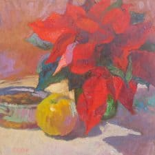 """American Legacy Fine Arts presents """"Cool Winter in Red and Gold"""" a painting by Christopher L. Cook."""