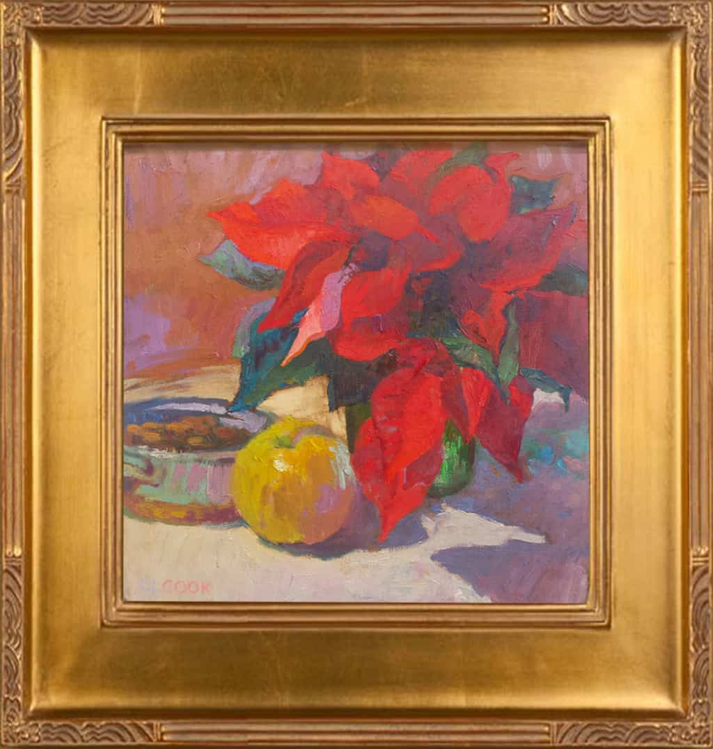 "American Legacy Fine Arts presents ""Cool Winter in Red and Gold"" a painting by Christopher L. Cook."