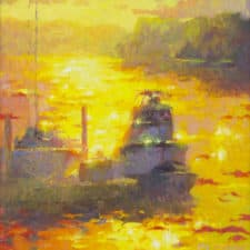"American Legacy Fine Arts presents ""Harbor of Gold"" a painting by Christopher Cook."