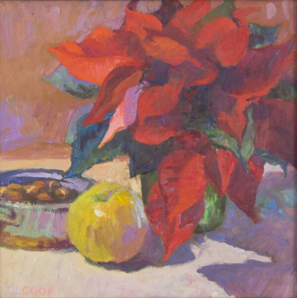 "American Legacy Fine Arts presents ""Cool Winter in Red and Gold"" a painting by Christopher Cook."