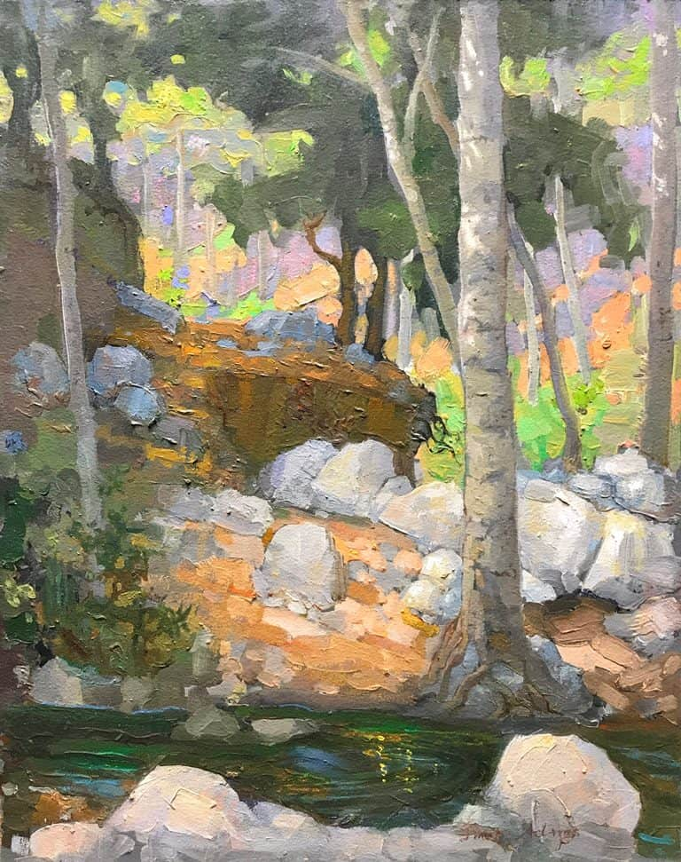 """American Legacy Fine Arts presents """"Forest of Alders; Millard Canyon, San Gabriel Mountains"""" a painting by Peter Adams."""