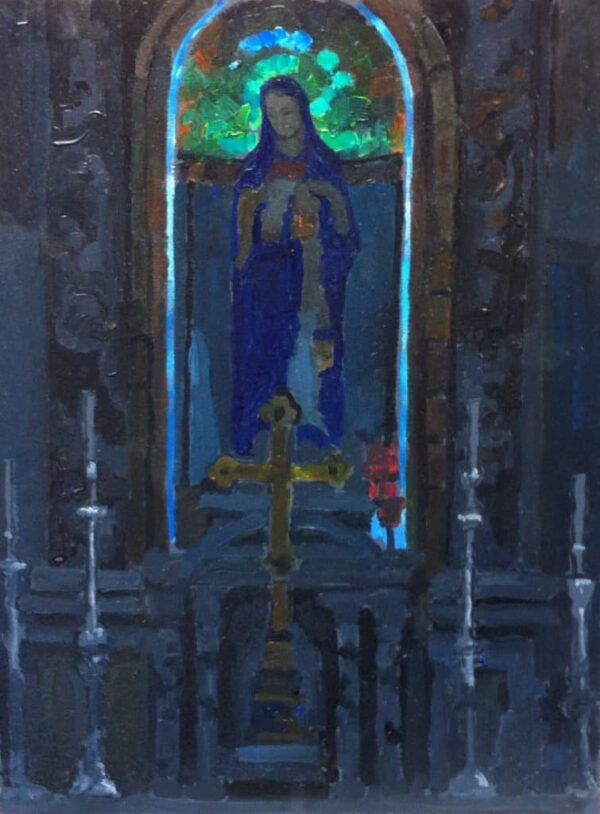 """American Legacy Fine Arts presents """"Altar, Church of St. John the Baptist in Ein Karem"""" a painting by Peter Adams."""