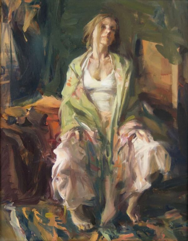 "American Legacy Fine Arts presents ""Daydream, The Spanish Shawl"" a painting by Quang Ho."