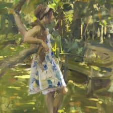 "American Legacy Fine Arts presents ""Kat in the Garden"" a painting by Quang Ho."