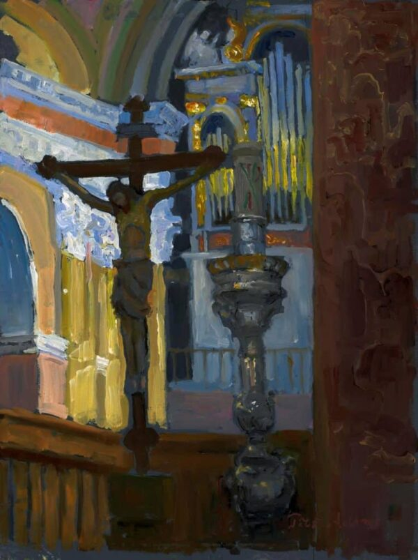 "American Legacy Fine Arts presents ""Altar at the Church of St. Saviour, Jerusalem"" a painting by Peter Adams."