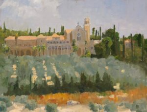 "American Legacy Fine Arts presents ""Trappist Monastery in Latrun; Overlooking the Road to Jerusalem"" a painting by Peter Adams."