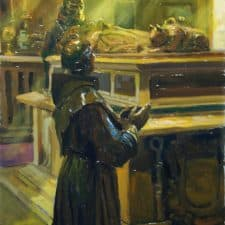 """American Legacy Fine Arts presents """"Father Serra's Bronze Cenotaph"""" a painting by Peter Adams."""