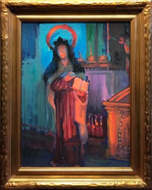 """American Legacy Fine Arts presents """"St. Theresa in the Serra Chapel"""" a painting by Peter Adams."""