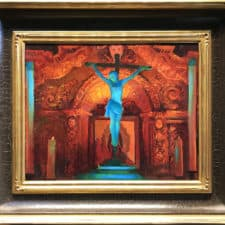 "American Legacy Fine Arts presents ""Crucifix and Retablo at Serra Chapel; Mission San Juan Capistrano"" a painting by Peter Adams."