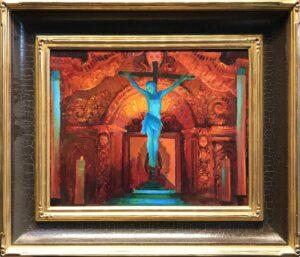 "American Legacy Fine Arts presents ""Crucifix and Retablo at Serra Chapel; Mission San Juan Capistrano"" a painting by Peter Adams."