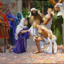 "American Legacy Fine Arts presents ""Study for the 6th Station; Veronica"" a painting by Peter Adams."