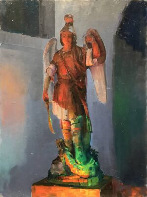 """American Legacy Fine Arts presents """"Archangel Michael and the Serpent; Sacred Heart Academy"""" a painting by Peter Adams."""