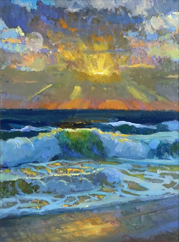 "American Legacy Fine Arts presents ""Christmas Sunset"" a painting by Peter Adams."