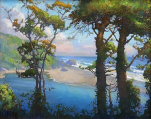 """American Legacy Fine Arts presents """"Klamath River Meets the Sea"""" a painting by Peter Adams."""