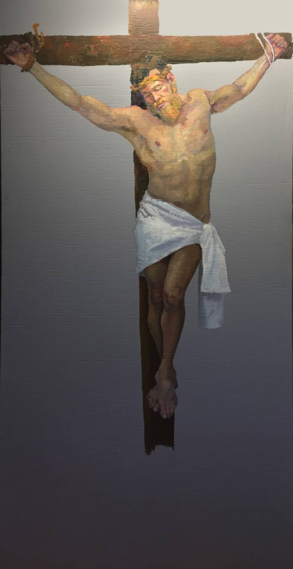 "American Legacy Fine Arts presents ""Life-Size Study for the Crucifixion"" a painting by Peter Adams."