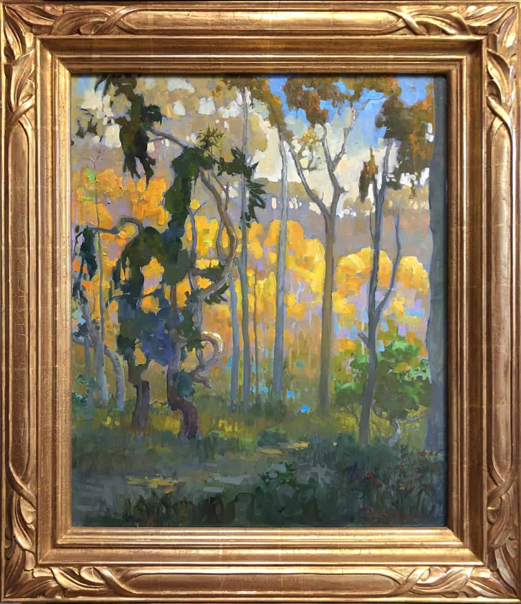 "American Legacy Fine Arts presents ""Light in the Eucalyptus Forest; Carlsbad"" a painting by Peter Adams."