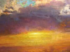 "American Legacy Fine Arts presents ""Transcendence, Sunset over Tejon Ranch"" a painting by Peter Adams."