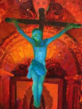 "American Legacy Fine Arts presents ""Crucifix and Retablo at Serra Chapel Mission San Juan Capistrano"" a painting by Peter Adams."