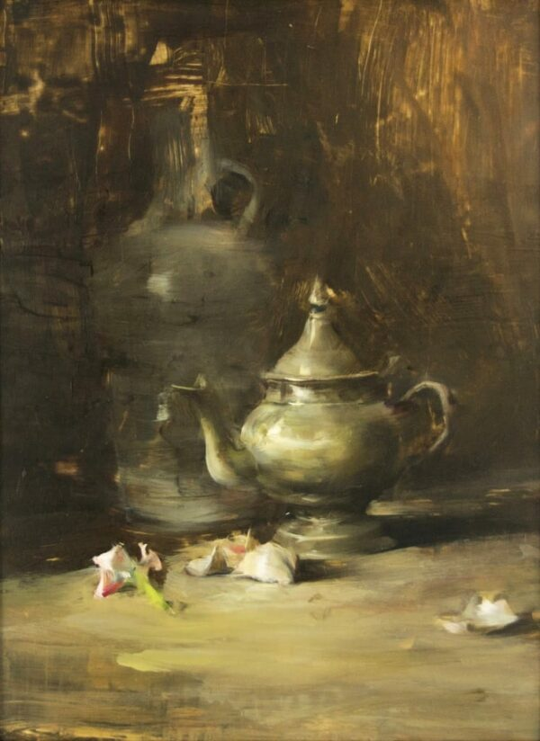 "American Legacy Fine Arts presents ""Still Life Arrangement with Pewter"" a painting by Quang Ho."