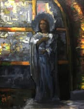 "American Legacy Fine Arts presents ""Mary Magdelene at the Foot of the Cross, Church of the Holy Sepulcher"" a painting by Peter Adams."