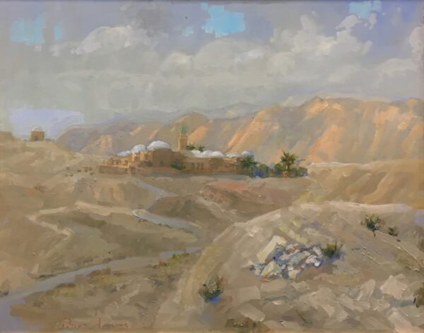 "American Legacy Fine Arts presents ""Nabi Musa (Prophet Moses) at Ramadan; Judean Desert"" a painting by Peter Adams."