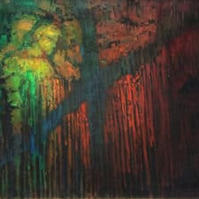 "American Legacy Fine Arts presents ""Philosophers' Wall; Shasta Caves"" a painting by Peter Adams."