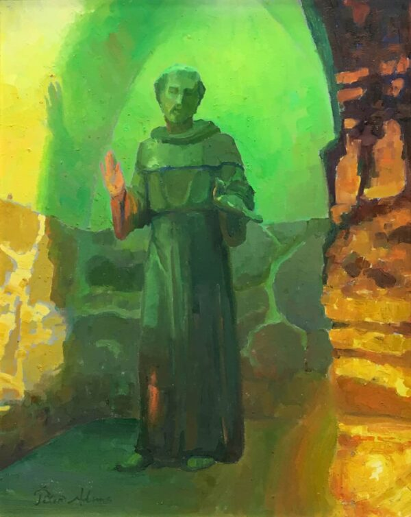 "American Legacy Fine Arts presents ""St. Francis at Mission San Juan Capistrano"" a painting by peter Adams."