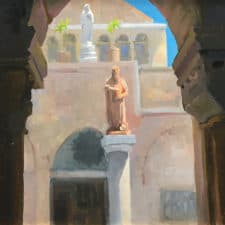 """American Legacy Fine Arts presents """"St. Jerome & St. Catherine of Alexandria, Church of St. Catherine, Bethlehem"""" a painting by Peter Adams."""