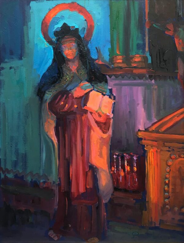 "American Legacy Fine Arts presents ""St.Theresa in the Serra Chapel"" a painting by Peter Adams."