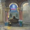 "American Legacy Fine Arts presents ""Statue of the Sleeping Virgin; Interior of the Church of the Dormition"" a painting by Peter Adams."