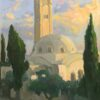 "American Legacy Fine Arts presents ""The Jerusalem International YMCA Tower and Concert Hall"" a painting by Peter Adams."