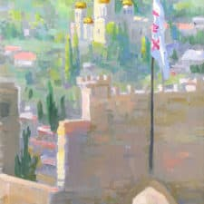 "American Legacy Fine Arts presents ""View of the Church of the Visitation from the Church of St. John the Baptist in Ein Karem"" a painting by Peter Adams."