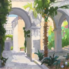 """American Legacy Fine Arts presents """"View from the Church of Flagellation, Jerusalem (2nd Station)"""" a painting by Peter Adams."""