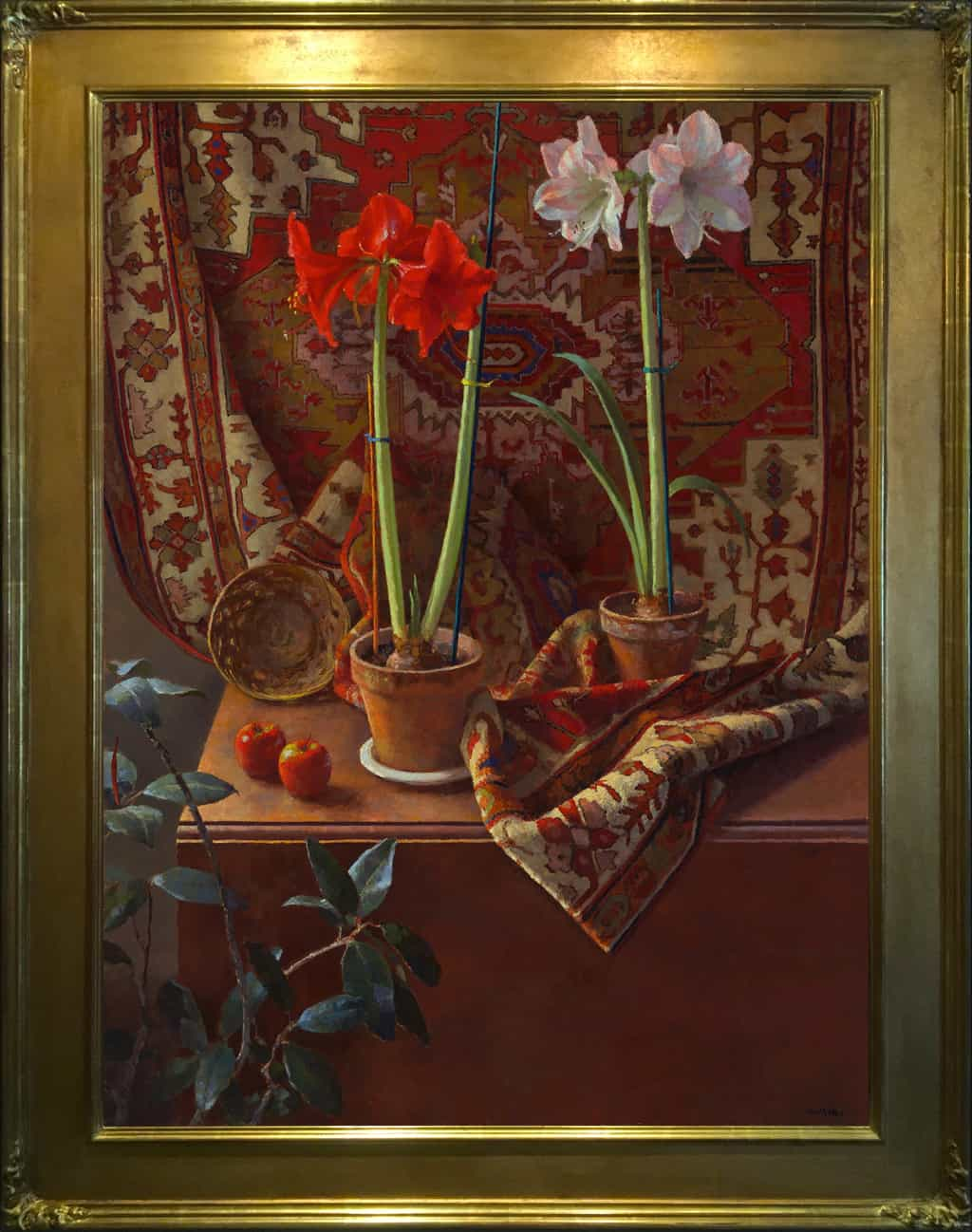 "American Legacy Fine Arts presents ""Two Amaryllis"" a painting by Jim McVicker."