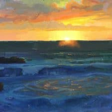 "American Legacy Fine Arts presents ""Last Rays; Laguna Beach"" a painting by Peter Ada,ms."