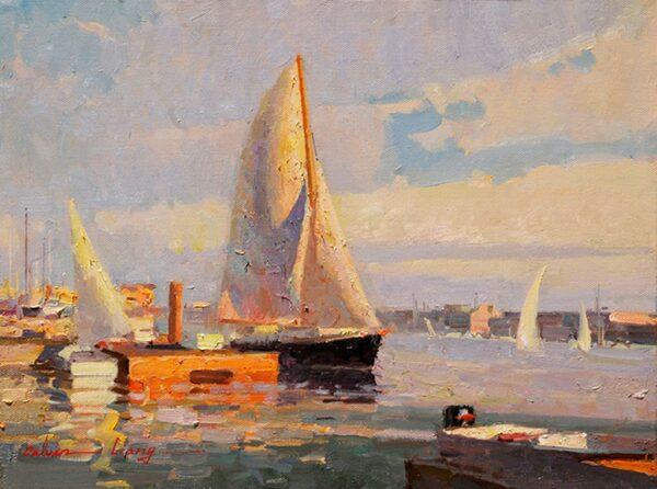 "American Legacy Fine Arts presents ""Newport Harbor Scene"" a painting by Calvin Liang."
