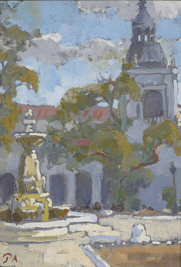 "American Legacy Fine Arts presents ""Fountain and Tower, Pasadena City Hall"" a painting by Peter Adams."