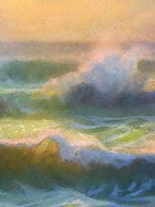 "American Legacy Fine Arts presents ""Con Brio; Sunset at Leo Carrillo Beach"" a painting by Peter Adams."