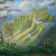 "American Legacy Fine Arts presents ""Parting Mist ; Kalalau Lookout, Kauai"" a painting by Peter Adams."