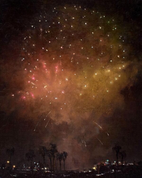"American Legacy Fine Arts presents ""Aerial Celebration in Red"" a painting by Jennifer Moses."