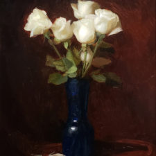 "American Legacy Fine Arts presents ""White on Burgundy"" a painting by Adrian Gottlieb."