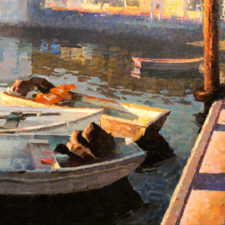 "American Legacy Fine Arts presents ""Reflection; Sausalito, California"" a painting by Calvin Liang."