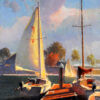 "American Legacy Fine Arts presents ""Sailboats in Dana Point"" a painting by Calvin Liang."