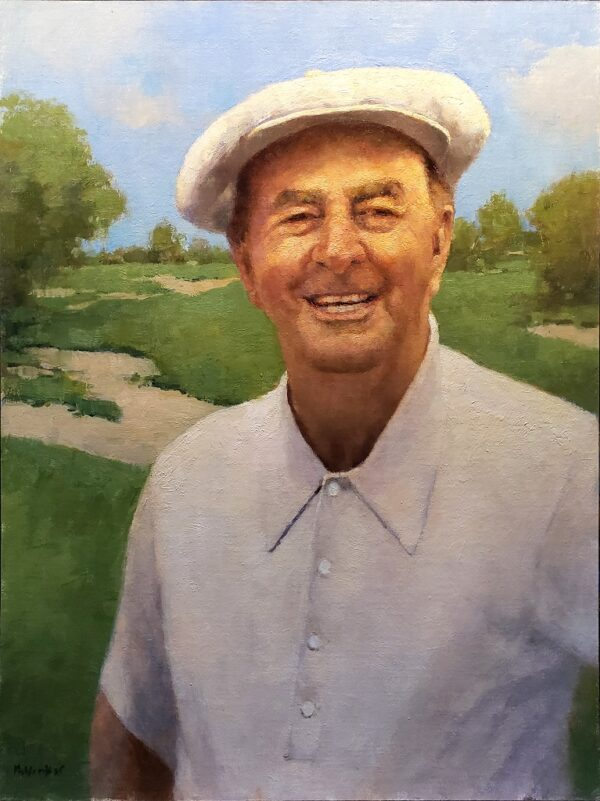 """American Legacy Fine Arts presents """"Portrait of George Fazio in the 1970s"""" a painting by Jim McVicker."""