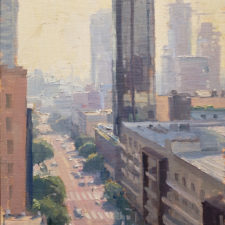 "American Legacy Fine Arts presents ""Down Olive; Los Angeles"" a painting by Michael Obermeyer."